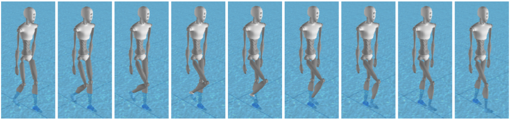 Physics-based control of virtual characters in low frequency simulations